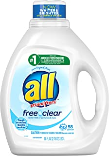 all Liquid Laundry Detergent, Free Clear for Sensitive Skin, 58 Loads, 88 Fluid Ounce