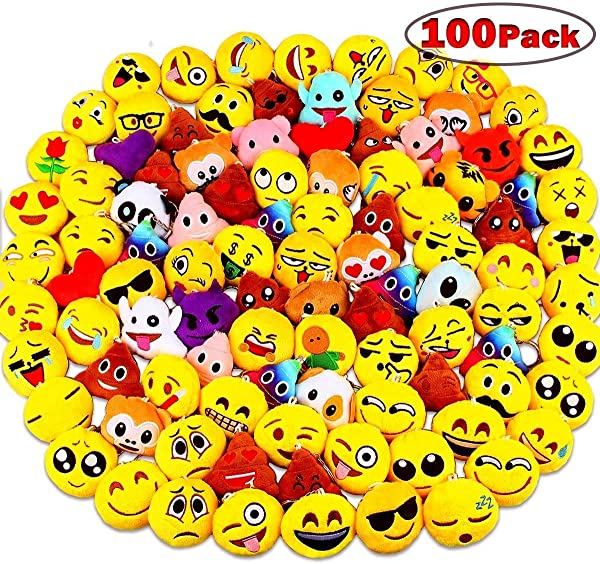 100 Pack Emoji Party Supplies Emoji Plush Pillows Mini Keychain Decorations For Birthday Party Home Decoration Wall Decor And Party Favor