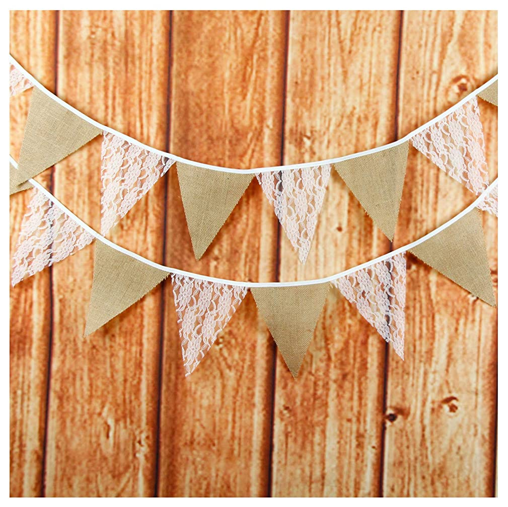 LOVENJOY White Floral Lace Collection Rustic Linen Pennant Banner - 10.8 Feet
