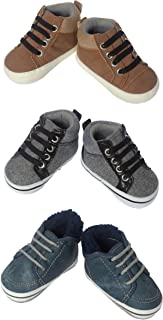 Little Me 3 Pack Baby Boys High Top Shoes, in Sizes 0-6 & 6-9 Months