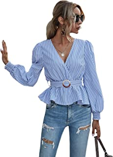 Romwe Women's Elegant Wrap V Neck Puff Long Sleeve Ruffle Curve with Belt Peplum Blouse Top Tee