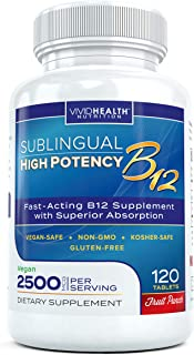 Fast Dissolving Sublingual Vitamin B12 Supplement with 2500mcg Methylcobalamin by Vivid Health Nutrition - Bioavailable, Vegan Safe and Non-GMO - 120 Fruit Punch Flavored Sublingual Tablets
