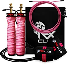 RxClub Speed Jump Rope - Adjustable Jumping Ropes - 2 Cable Workout Set - 1 Thick (3.4 mm) & 1 Light (2.5 mm) 10' Cable - ...