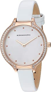 Women's Stainless Steel Japanese-Quartz Watch with Leather Strap, White, 10.7 (Model: BG50678008)