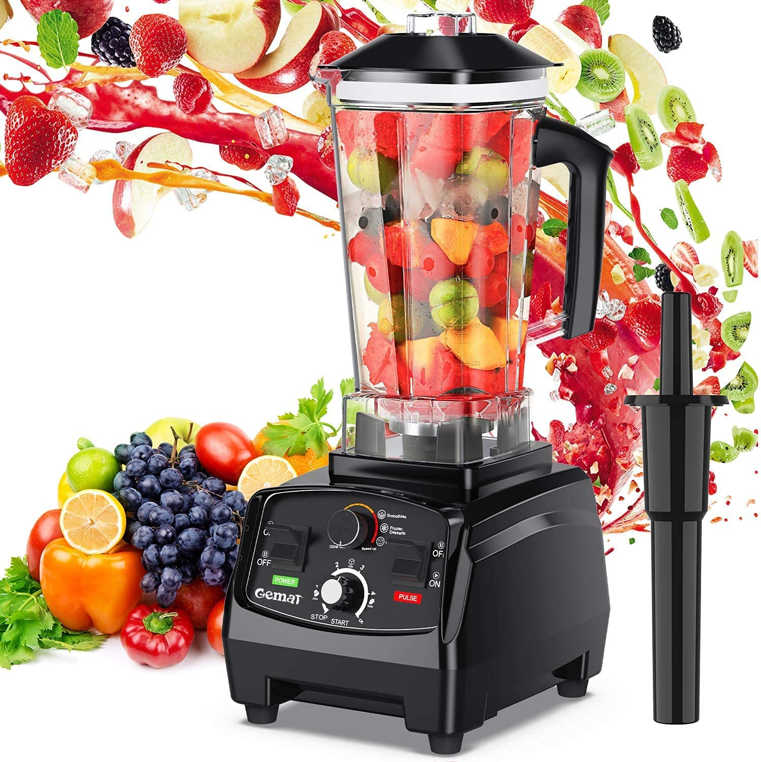 GEMAT Professional Countertop Blender with 2200-Watt Base, Smoothie Blender ,Built-in Timer ,High Power Blender 2L Cups for Frozen Drinks ,Shakes and Smoothies