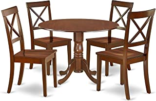 DLBO5-MAH-W 5Pc Rounded 42 Inch Kitchen Table With Two 9-Inch Drop Leaves And Four Wood Seat Dining Chairs