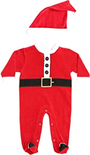 Christmas Coverall for Baby & Infant with Matching Santa Hat