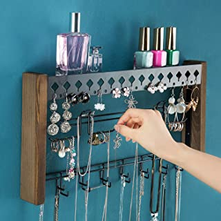 Rustic Wood Wall Mount Jewelry Organizer with Metal Hooks for Necklaces Earrings and Bracelets (Wood) : MK460A