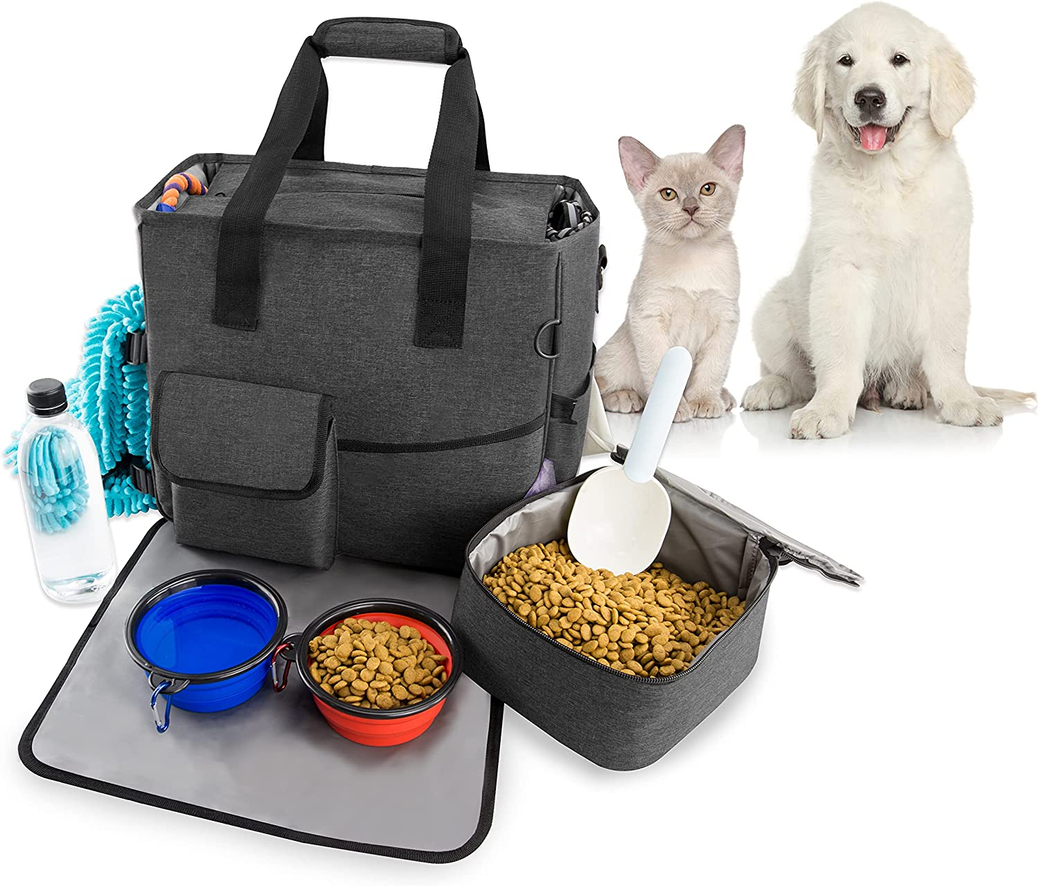 Dog Travel Bag Airline Approved Water Resistantl Pet Travel Bag Dog Accessories with 1 Food Storage Containers1 Waterproof Mat and 2 Collapsible Bowls for a Weekend Away Organizer (Black)