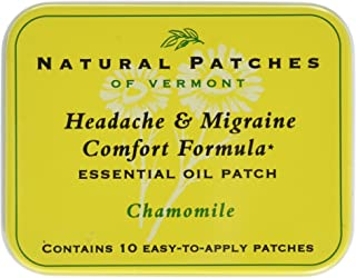 Natural Patches of Vermont Headache & Migraine Comfort Formula Essential Oil Body Patches, Chamomile, 10-Count Tin