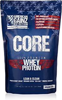 Core - 100% American Made │2.5 lbs of Premium Whey Protein from Idaho Farms│Organic Cocoa │Organic Coconut Sugar│ 5.3 Grams BCAAs│No Fillers - Leanest & Cleanest│Grass Fed Cows