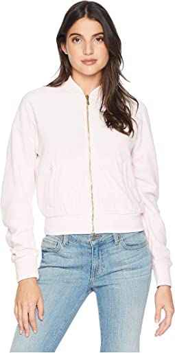 Velour Ruched Sleeve Jacket