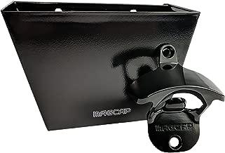 MAGCAP Magnetic Wall Mounted Bottle Opener And Bottle Cap Catcher Set (Black)