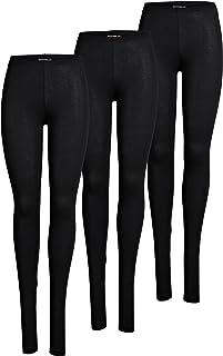 ONLY 3er Pack Leggings für Damen in schwarz - Blickdicht - Für Freizeit, Sport, Yoga oder Fitness aus 95% Baumwolle 15209151