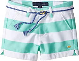Rugby Stripe Shorts with Rope Belt (Little Kids)