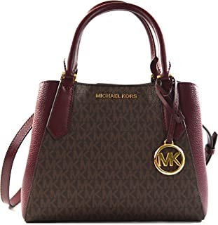 Michael Kors Kimberly MK Signature Leather Small Satchel Handbag Crossbody Bag, Merlot Multi