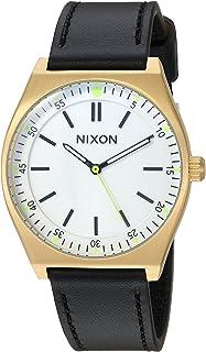 ساعة نيكسون دائرية ستانلس ستيل كوارتز يابانية مع حزام جلد صناعي، اسود، 19 موديل A11882769