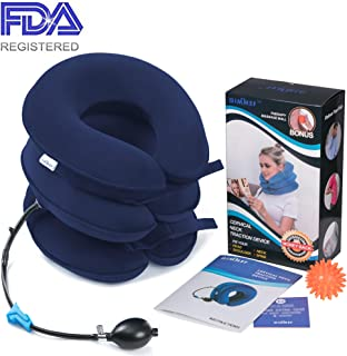 Health Cervical Neck Traction Device - FDA Registered - Inflatable & Adjustable Neck Stretcher Collar, Instant Pain Relief for Chronic Neck and Shoulder Pain ✮ Bonus Therapy Massage Ball (Dark Blue)