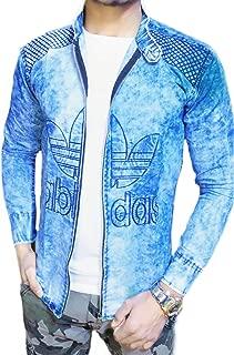 Men's Super Denim Jeans Short Caller Zip Shirt for Men Blue