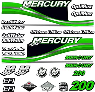 AMR Racing Outboard Engine Motor Sticker Decal Graphics kit for Mercury 200 - Green