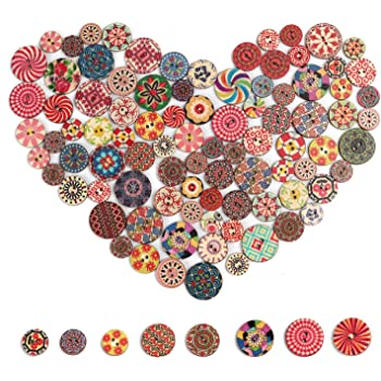 Bonarty 50Pcs Novelty Sewing Buttons 15mm Round Mixed Patterns Decorative Buttons