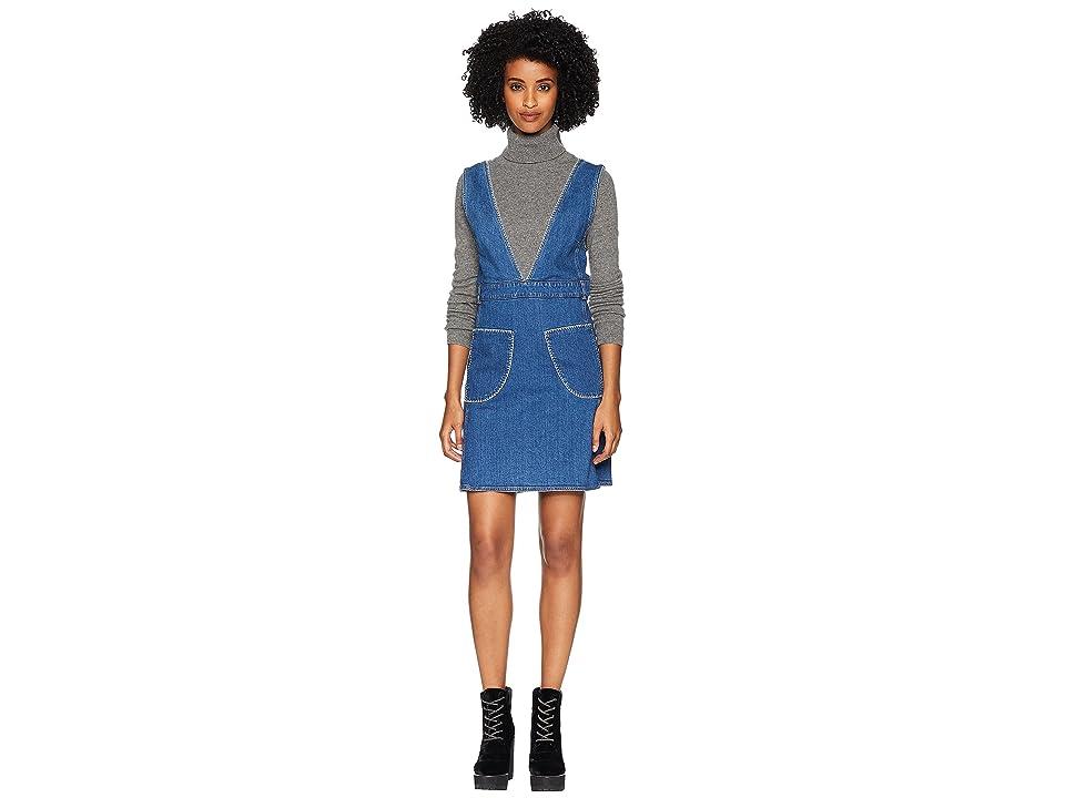 See by Chloe V-Neck Dress with White Stitch (Shady Cobalt) Women