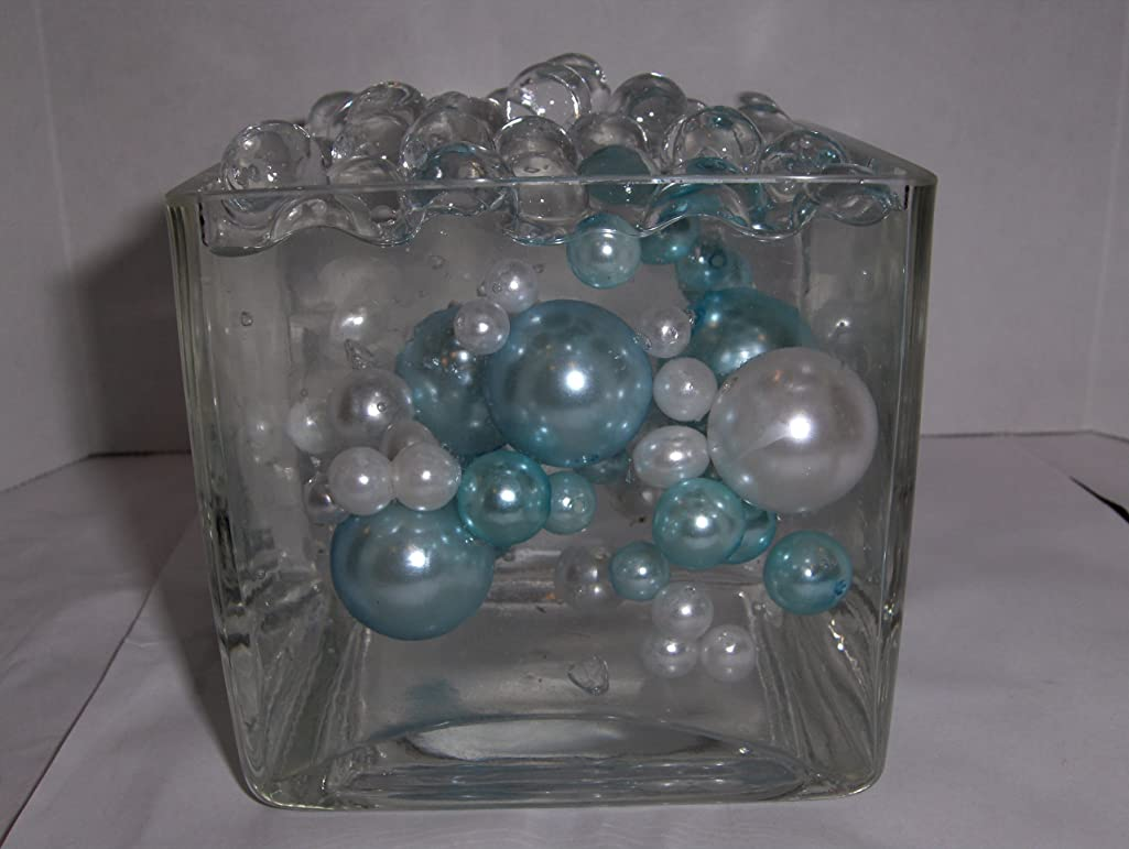 Easy Elegance BABY BLUE & WHITE Pearl Beads w/FREE JellyBeadZ Water bead gel pearls ($3.95 Value) - Great for Wedding Centerpieces and Decorations