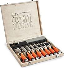 VonHaus Set professionale da 10 scalpelli per intaglio legno con guida di precisione, pietra per affilare e custodia