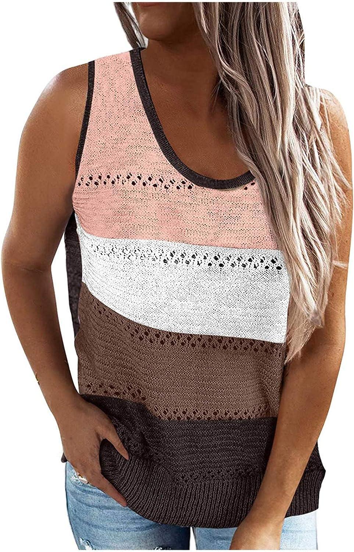 AOKASII Womens Tank Tops,Summer Scoop Neck Knit Cami Tank Tops Loose Sleeveless Blouse Shirts