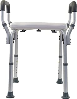 Essential Medical Molded Shower Bench with Arms (No-Back)