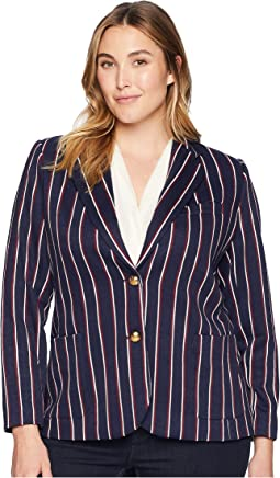 Plus Size Striped Jacquard Blazer