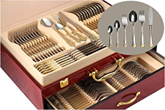 75-Piece Gold Flatware Set Dining Service for 12, 18/10 Premium Stainless Steel, 24K Gold-Plated Trim, Silverware Serving Set, Wood Storage Case (