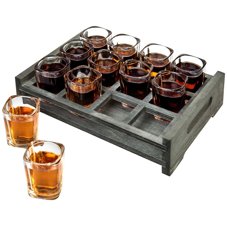 MyGift - Servidor de 12 vasos de chupito con bandeja de madera gris vintage