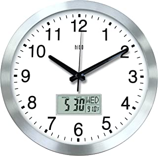 hito 12 Inches Silent Non-Ticking Modern Wall Clock w/Aluminum Frame, Acrylic Front..