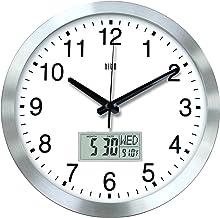 (فضية مع LCD) - ساعة حائط صامتة غير موقوتة 30 سم مع إطار معدني، غطاء أمامي من الأكريليك، التاريخ، درجة حرارة داخلية، أسبوع...