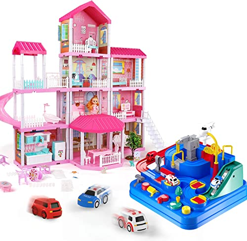 new arrival TEMI online Dollhouse Dream House and Kids Race Track Toys for Boy Car Adventure Toy Toys for 3 4 2021 5 6 7year Old Girls Building Toys Figure outlet sale