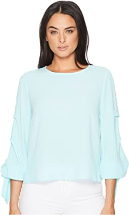 Long Sleeve Tiered Tie Cuff Textured Blouse