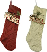 CVHOMEDECO. Burgundy and Ivory White 18 Inch Christmas Tree Knit Stockings Bag with Wooden Noel Sign Vintage Hanging Decor...
