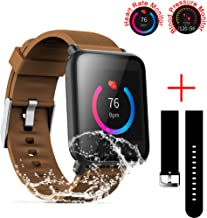 SZHAIYU Blood Pressure Heart Rate Monitor Smart Watch Android iOS IP67 Waterproof Sport Fitness Trakcer Watch Men Women Smartwatch (Coffee)