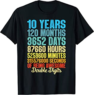 10 Years Old Vintage 10th Birthday 120 Months Gift T-Shirt
