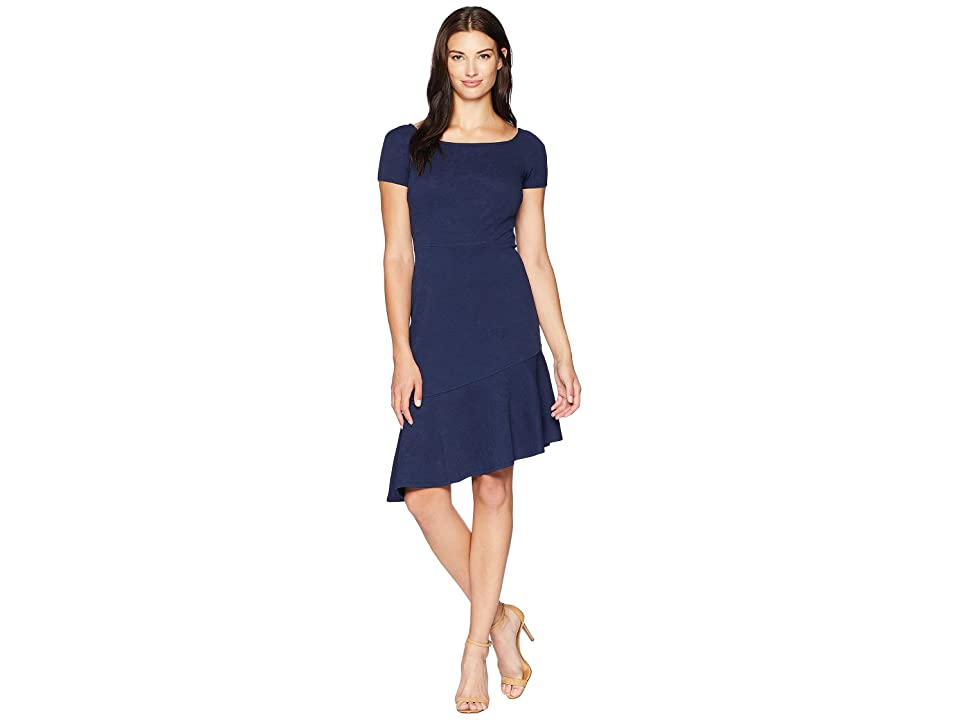 London Times Spaced Floral Jacquard Dress (Navy) Women