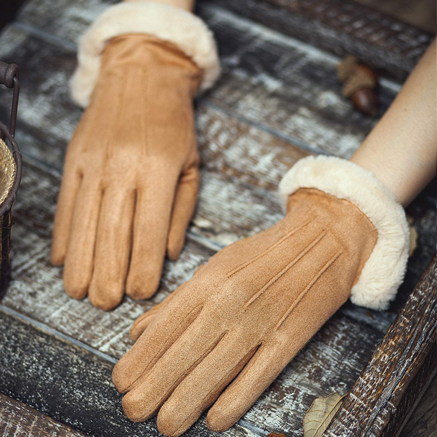 Gloves Female Autumn and Winter Lovely Touch Screen Suede Keep Warm Plus Velvet Thicken Cold Protection Cycling Outdoor