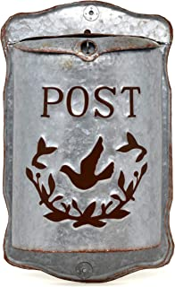 Wall Mounted Rustic Mailbox Medium Galvanized Metal Letter Decor Tin Post Box Holder Outside Hanging Decoration for House, Porch with Vintage Embossed Lettering and Mail Sorter by Gift Boutique