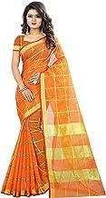 The Fashion Outlets Women's Cotton Silk Manipuri Saree with Blouse (Orange)