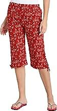 Fflirtygo Women's Comfort Capri, Night Pyjamas for Women, Night Dress, Lounge Wear, Orange Color Printed 3/4 Pyjama,–Soft Cotton Night Wear