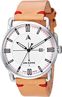 One Eleven Men's SW1 Solar Quartz Stainless Steel and Leather Casual Watch, Color: Silver, Brown (Model: CBOE2000)