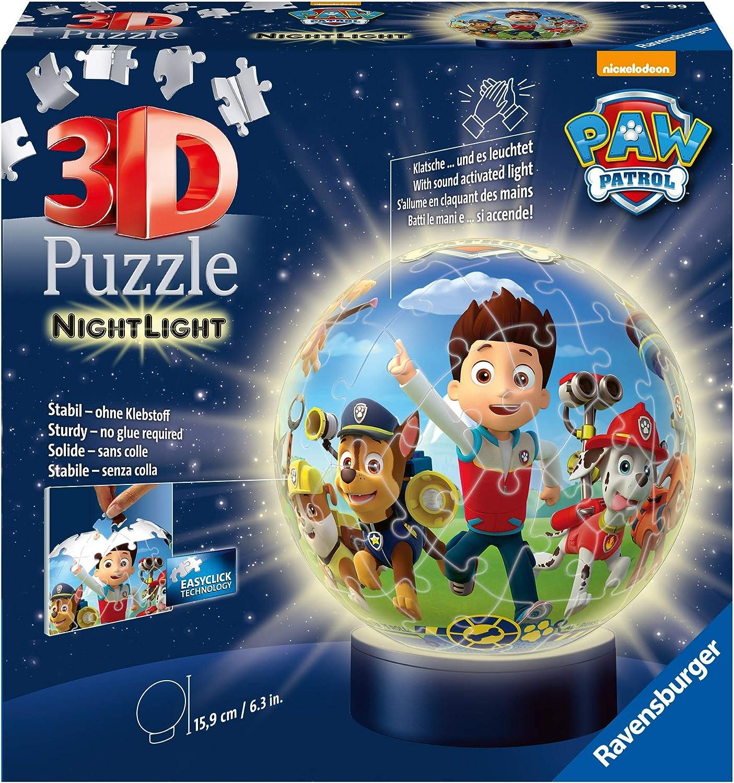 PAW Patrol - 3D Puzzle: Nachtlicht, 72 Teile, LED Nachttischlampe mit Klatsch-Mechanismus