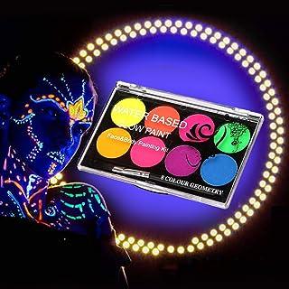 FANICEA UV Glow Black Light Neon Body Paint Set Professional Fluorescent Water Soluble Face Paint Makeup Kit with 10 Nylon...