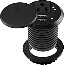 Desktop Power Grommet 2 Inch Hole Desk Outlet Build-in 1 US Standard Outlet and 2 USB Ports Hidden Design with 6.56 FT Extension Power Cord for Office Home Furniture Hotel