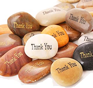 RockImpact 50PCS Thank You Thank You Stone Engraved Inspirational Stones Bulk Motivational Thank You Gifts Zen Healing Ins...